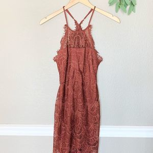 FREE PEOPLE Burnt Orange Lace Bodycon Dress XS